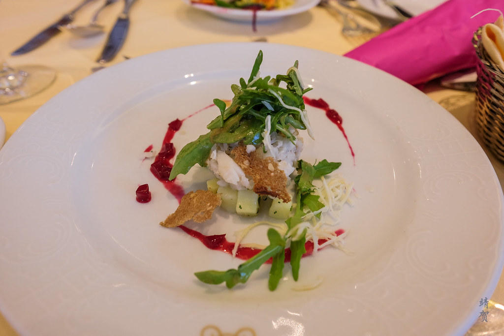 Steamed fresh water fishes on marinated potatoes with beetroot vinaigrette and horseradish