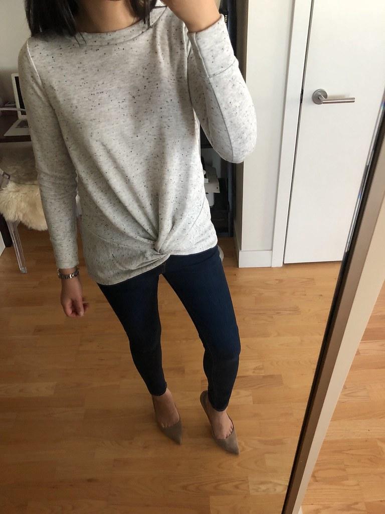 LOFT Speckled Twist Sweatshirt, size XSP