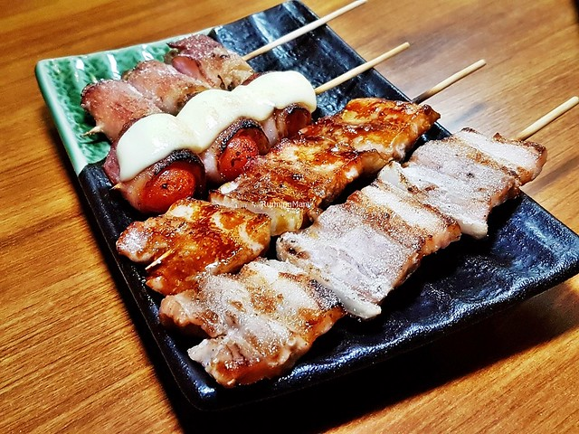 Skewers - Bacon Wrapped Golden Mushrooms, Bacon Wrapped Cherry Tomatoes With Cheese, Pork Belly With Miso Paste, Pork Belly With Salt