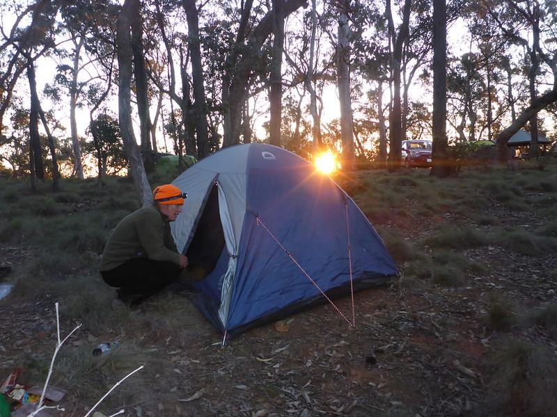 tent on sunset Samuel Bollard campground