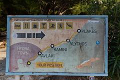 Map of Hydra island Greece