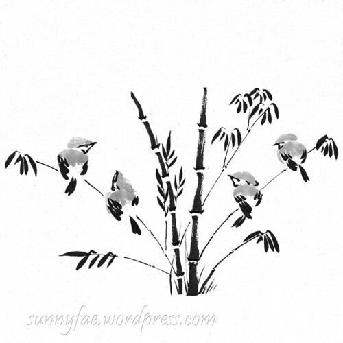 sparrows on bamboo in black & Gray ink day 19