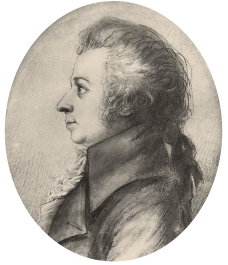 Drawing of Mozart in silverpoint, made by Dora Stock during Mozart's visit to Dresden, April 1789.