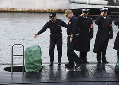 YOKOSUKA, Japan (Oct. 19, 2018) Rear Adm. Jimmy Pitts, commander of Submarine Group 7, is welcomed aboard JS Seiryu's (SS 509) commanding officer, Cmdr. Takehiko Hirama, prior to going underway aboard the Japanese submarine. The familiarity cruise is to reinforce the submarine group's commitment to the U.S.-Japan alliance. (U.S. Navy photo by Mass Communication Specialist 2nd Class Ryan Litzenberger)