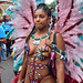 DSC_8458a Notting Hill Caribbean Carnival London Exotic Colourful Maroon Costume with Pink and Blue Ostrich Feather Headdress Girls Dancing Showgirl Performers Aug 27 2018 Stunning Ladies
