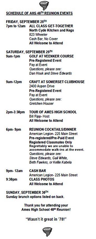 2018-09-28 29 30 Ames High School class of 1978 schedule of events 40th reunion weekend