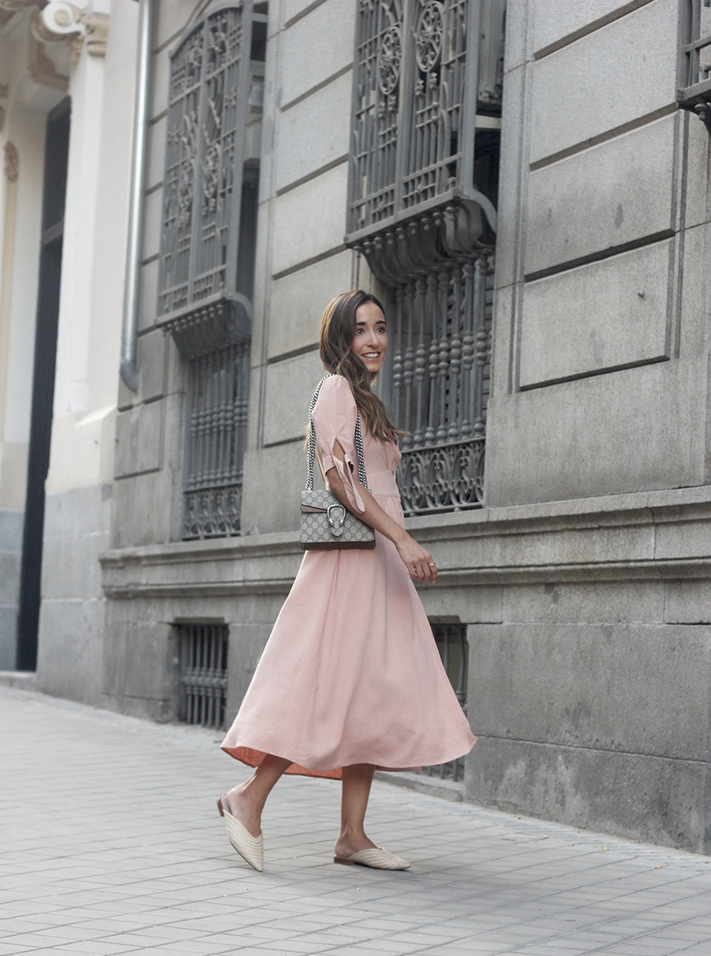 pink midi dress mules gucci bag outfit street style 201802