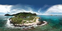 Makapuu Beach and Sea Life Park from 176 feet - an aerial 360° Equirectangular VR