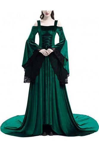 Женский карнавальный костюм Средневековый зелёный