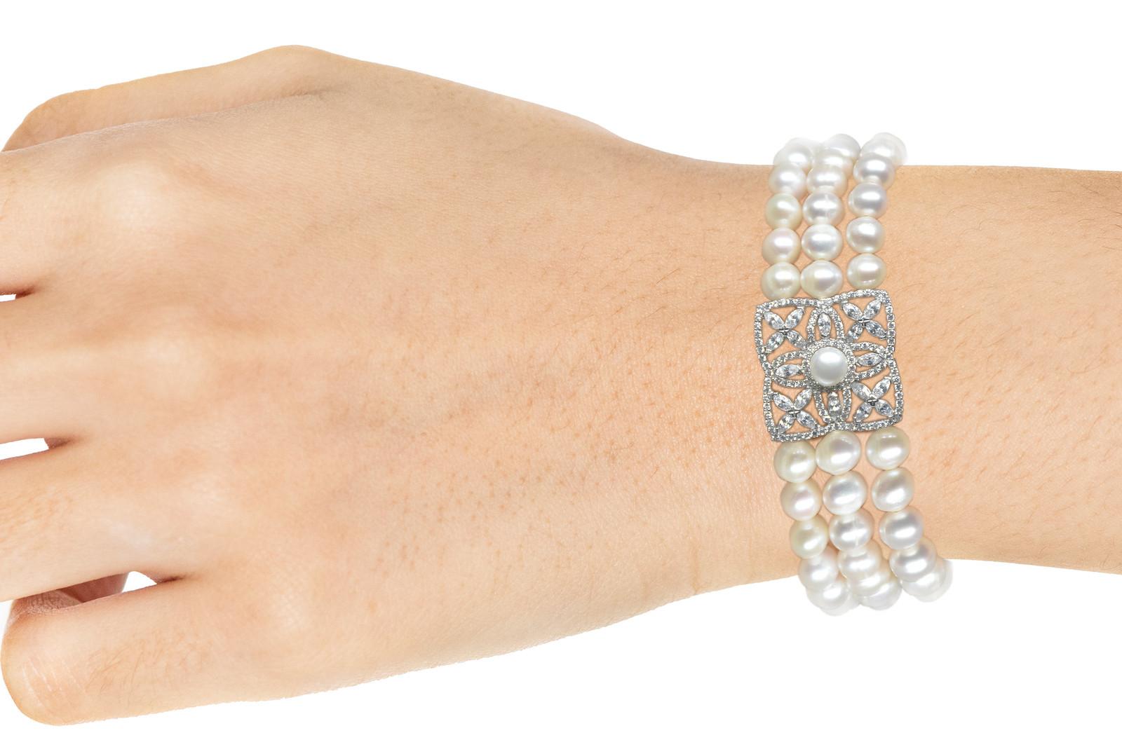- Ahsen 925K Gümüş Klipsli 3 Sıra Doğal Beyaz inci Bileklik AH-00095 (1)