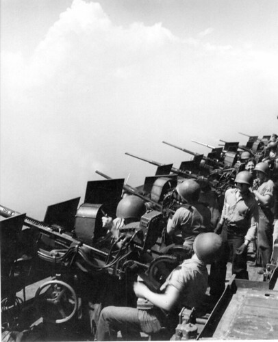 USS Hornet (CV-12) Oerlikon 20mm's ready to repel the Japanese attack February 1945.