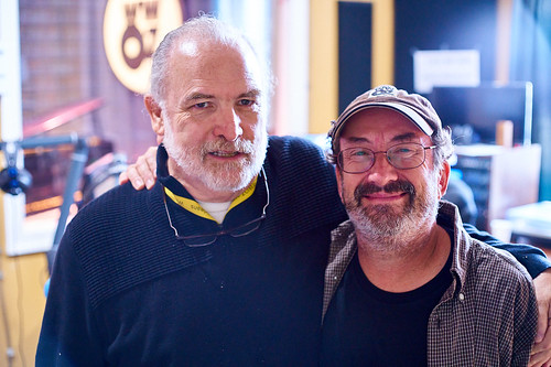 Rons unite! Father Ron and Ron Phillips at WWOZ - 10.25.18. Photo by Eli Mergel.