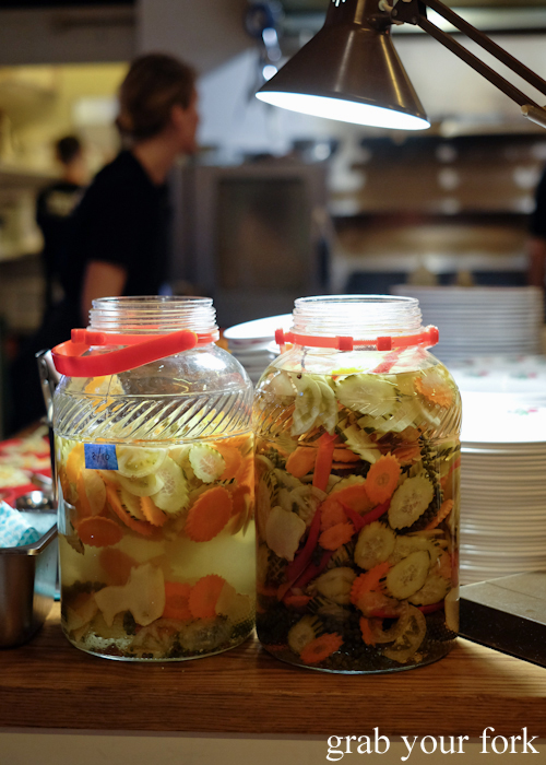 GIant jars of chlouh Cambodian pickles at Kingdom of Rice in Mascot Sydney