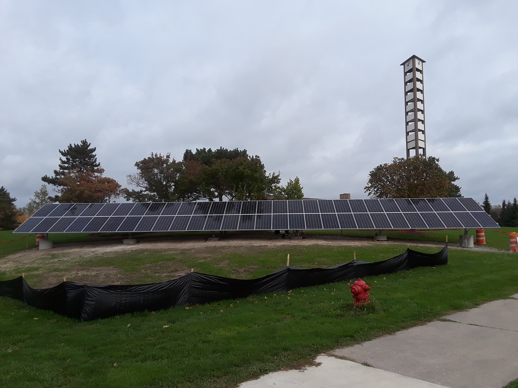 Solar Panels Installed Outside Meridian Township Municipal Building