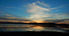 setting sun over the bay