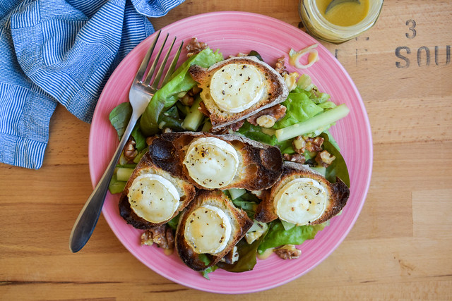 French Walnut Salad with Goats Cheese Croutons and a Simple Vinagrette