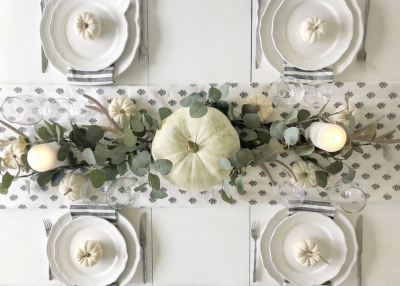 White Pumpkins Tablescape