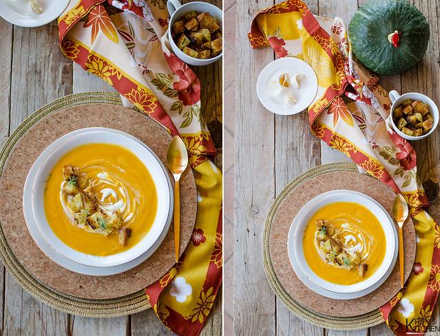 Zucca, latticello e crostini all'aglio e rosmarino