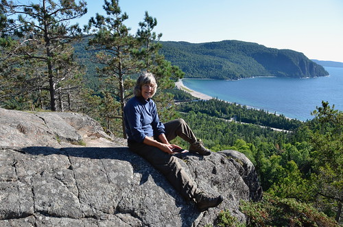 Lake Superior Park Linda at Old Woman Bay on a rock