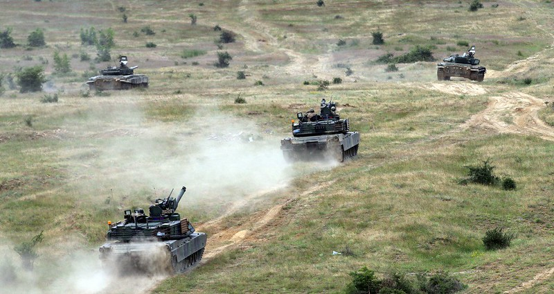 US Army M1 Abrams tanks train in Bulgaria