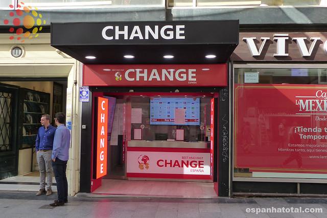 casa de cambio, trocar euros em madri