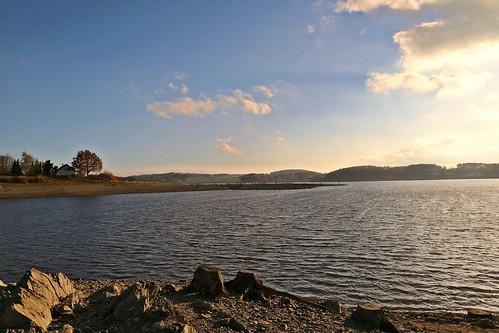 Talsperre Pöhl das Vogtland Meer mit Niedrigwasser