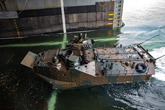 A Japan Ground Self-Defense Force amphibious vehicle embarks USS Ashland (LSD 48). (U.S. Marine Corps/Lance Cpl. Christine Phelps)