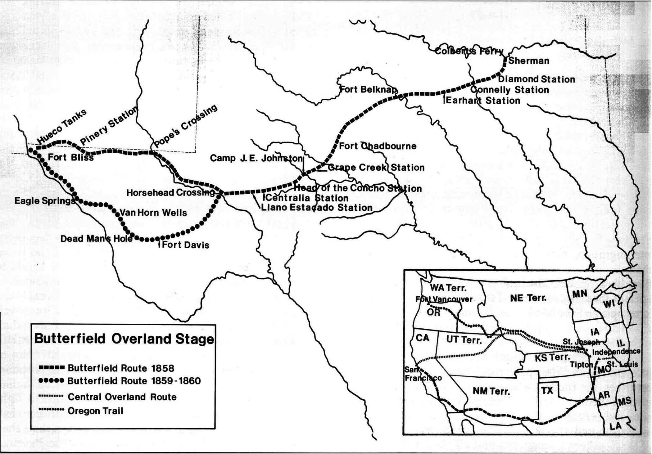 Map of the Butterfield Overland Mail Route through Texas and the Central Overland Route in the inset.