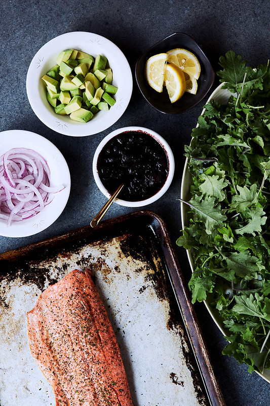 Kale Salad with Roasted Salmon and Warm Blueberry Balsamic Vinaigrette {Paleo, Keto, Gluten-free}