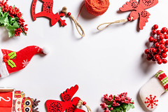 Christmas frame of red decor with free space