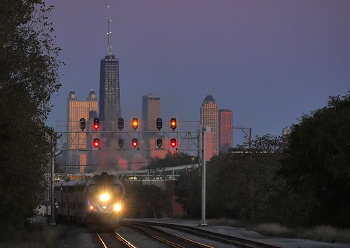 Metra at dusk, Chicago