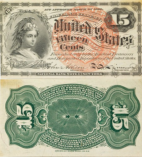 Fifteen Cent Fractional Currency Note