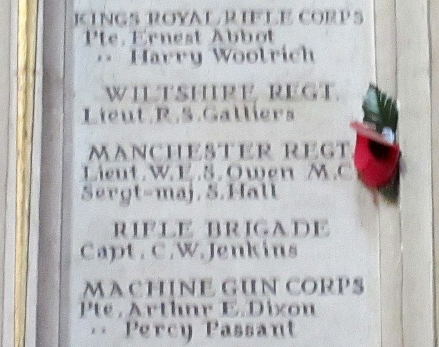Shrewsbury Abbey War Memorial Detail