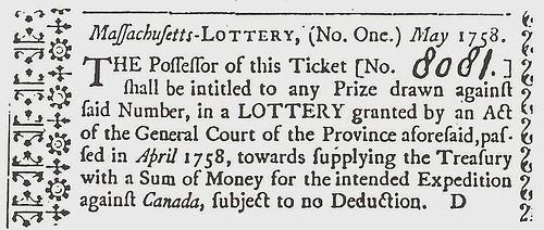 1758 Massachusetts lottery ticket