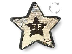 Wechsel Pailletten Patch STERN, schwarz-silber, XL Farbwechsel Applikation ca.23cm