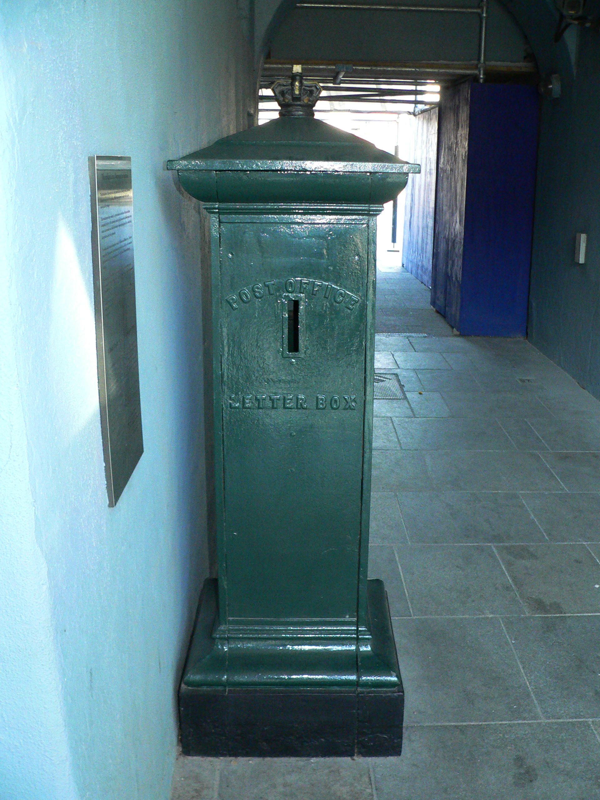 Only known example of an 1850s Ashworth pillar box originally installed in Ireland and now preserved in Dublin Museum, in green livery. Photo taken on November 6, 2007.