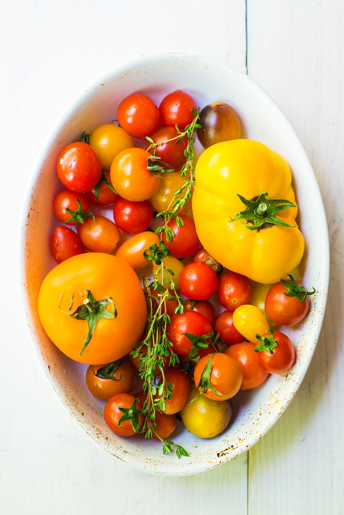 A bounty of summers colorful tomatoes, perfect for roasting in a savory crumble.