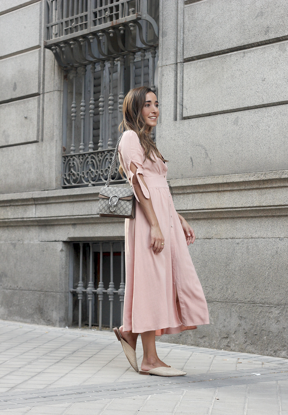 pink midi dress mules gucci bag outfit street style 201809