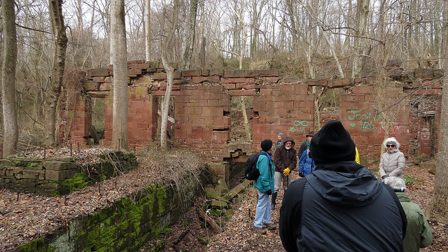 C&O Canal Association hikers inside the Seneca Stone Cutting Mill ruins_1-25-2015