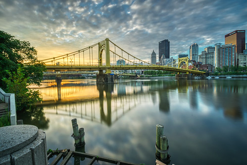 alleghenyriver andywarholbridge hdr nikon nikond5300 pennsylvania pittsburgh architecture bridge city clouds downtown geotagged longexposure morning reflection reflections river sky skyscraper sunrise urban water unitedstates