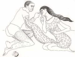 Dibujos de hombre y mujer  relación y amor, dibujo hombres  mujeres  dibujos arte  tinta sobre papel por el pintor israelí Raphael Pérez