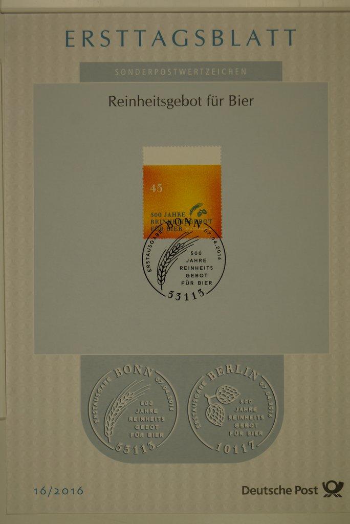 Germany - Michel #3229 (2016) first day card [NIMC2018]; image sources from Colnet