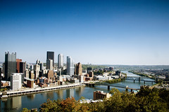 Skyline of Pittsburgh, Pennsylvania. Original image from Carol M. Highsmith's America, Library of Congress collection. Digitally enhanced by rawpixel.