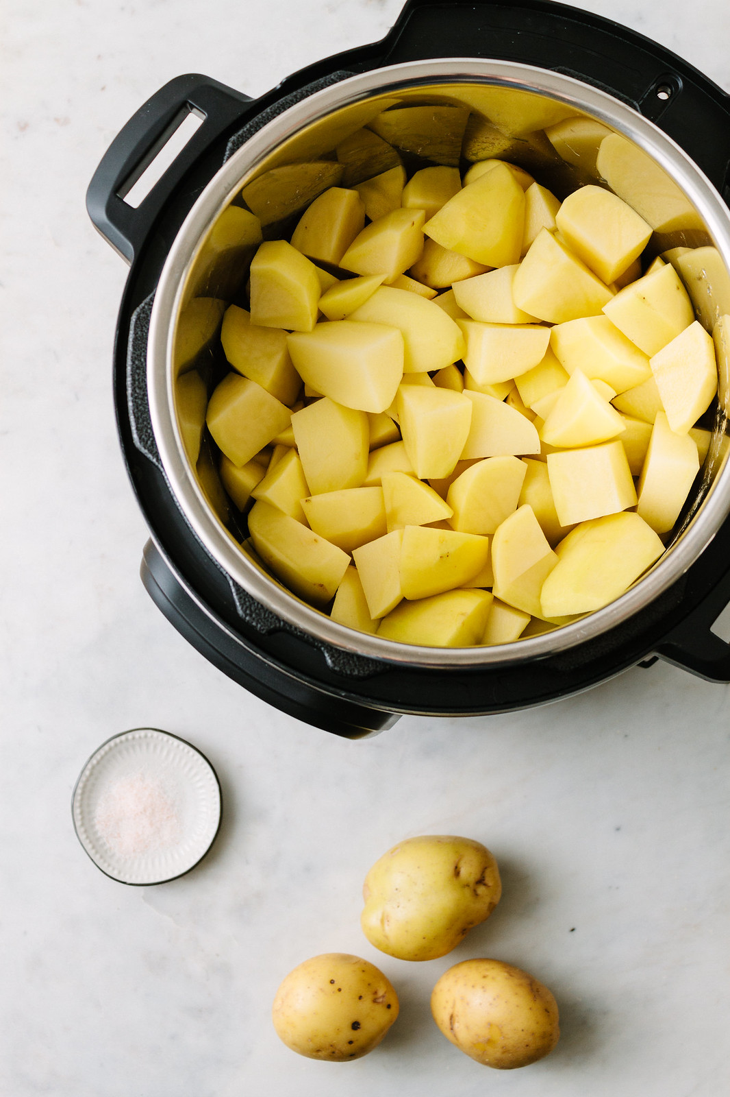 Vegan Mashed Potatoes: potatoes added to Instant Pot