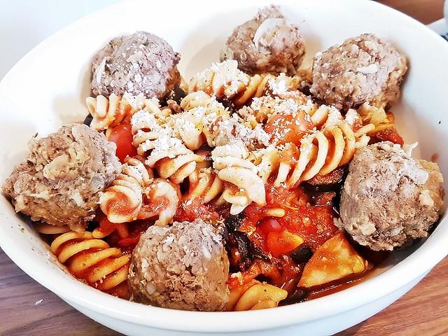 Build - Arnie's Meat Balls With Pasta & Eggplant