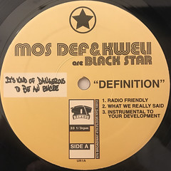 MOS DEF & TALIB KWELI ARE BLACK STAR:DEFINITION(LABEL SIDE-A)