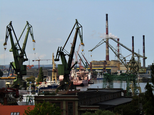 View of Gdansk Shipyard with cranes and ships