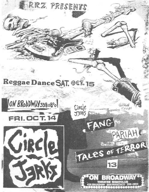 Circle Jerks, FANG, Pariah, Tales of Terror @ the ON BROADWAY, San Francisco, CA 1982
