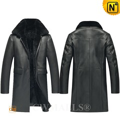 Thanksgiving Gifts | CWMALLS® Milwaukee Black 3/4 Length Shearling Coat CW836061 [Free Custom Made]