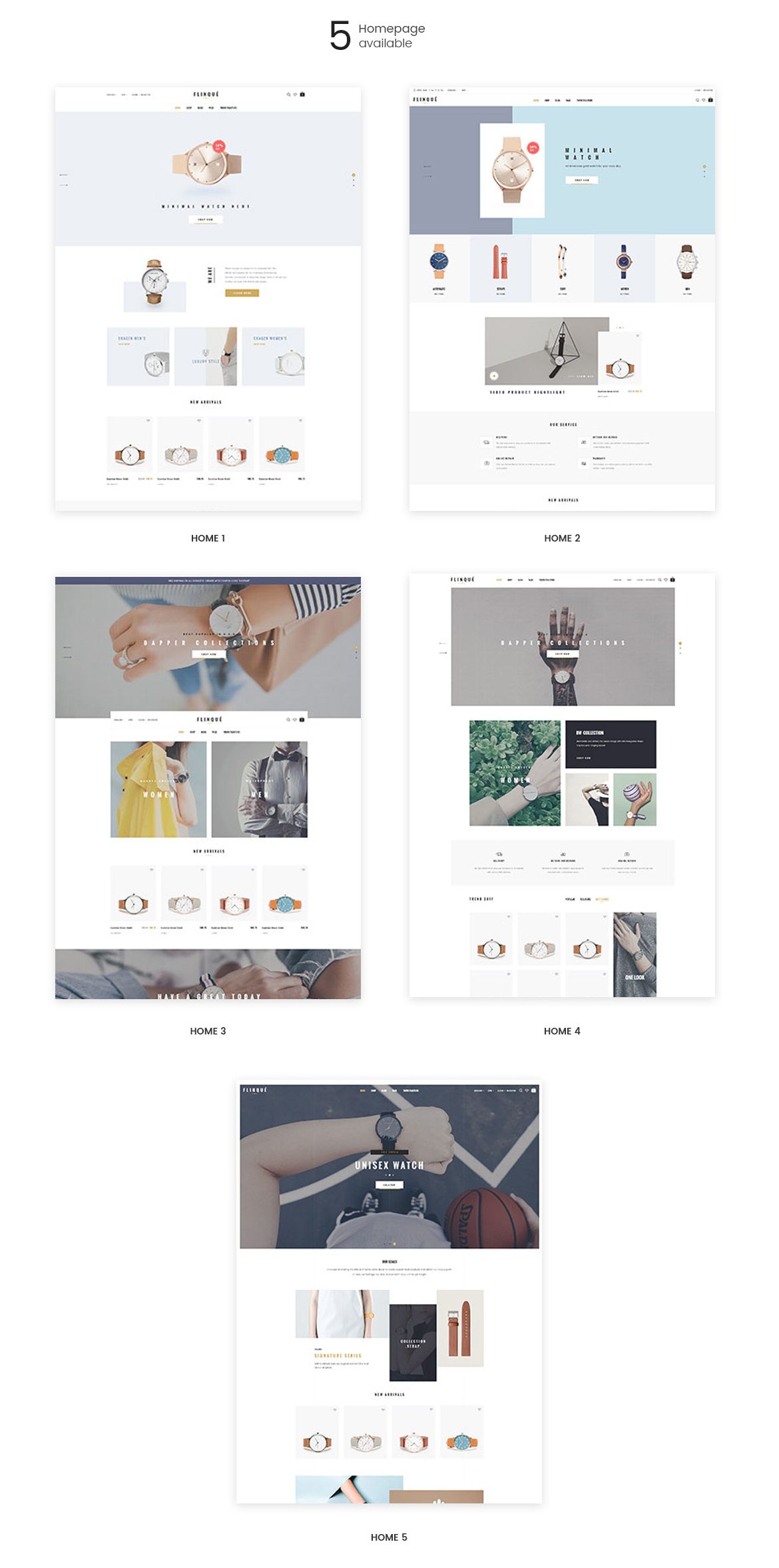 5+ premade homepages for Fashion and Accessories store